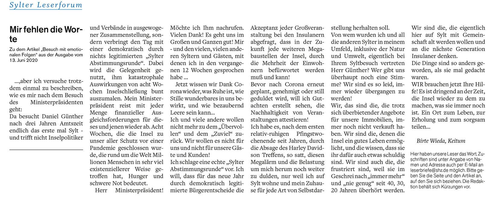 Leserbrief von Birte Wieda vom 15. Juni in der Sylter Rundschau (Großansicht)