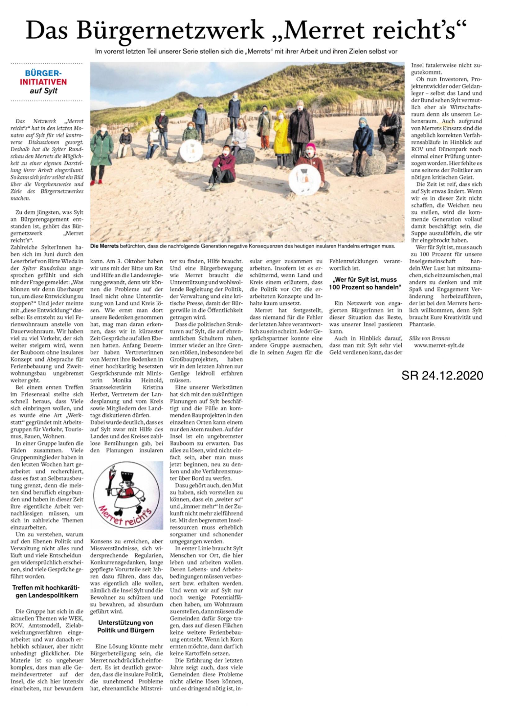 Artikel in der Sylter Rundschau, 24.12.2020